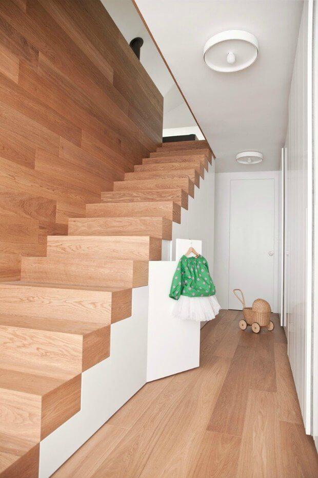 Escalera recta madera minimalista Dimensi-on