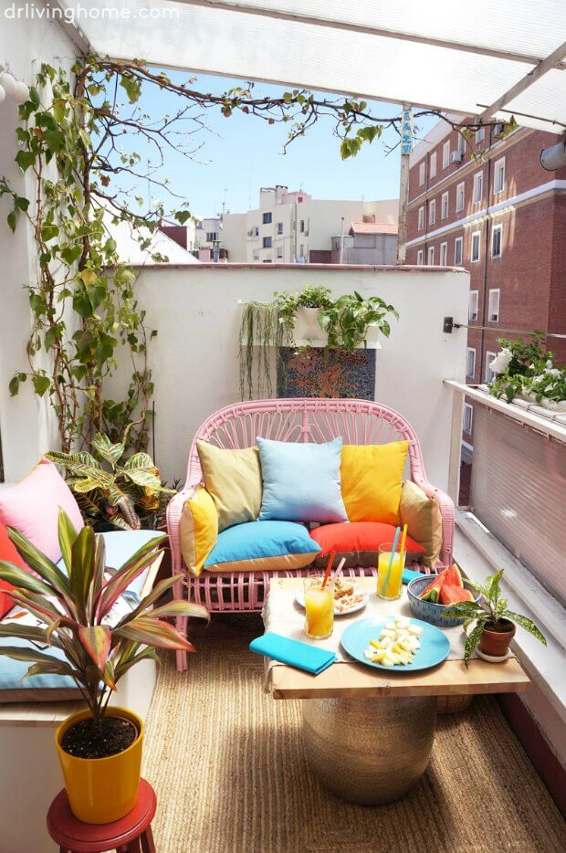 decoracion terrazas pequeñas plantas colgantes Dimensi-on