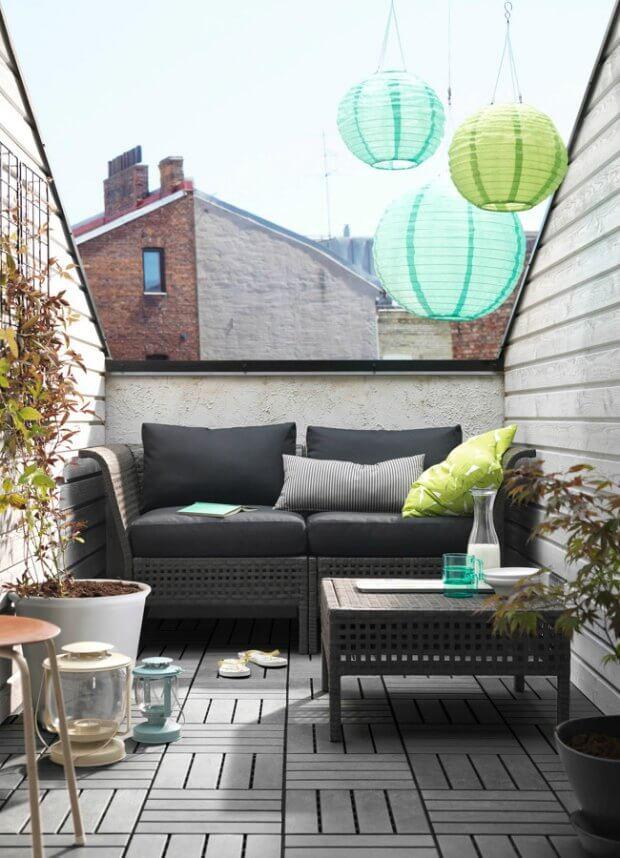 Sofa y mobiliario para decorar terrazas pequeñas Dimensi-on