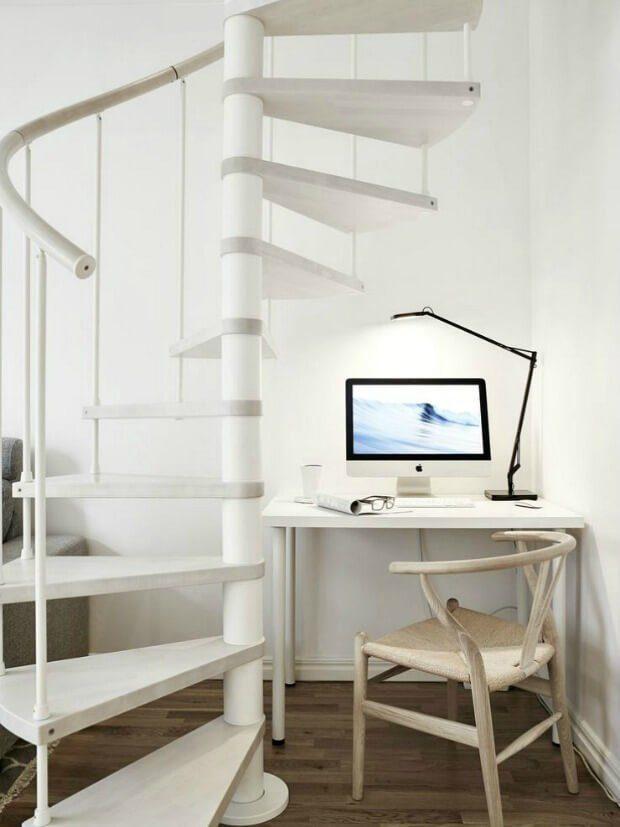 Escalera de caracol minimalista blanco decoracion Dimensi-on