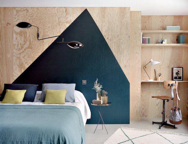 cabecero cama pared pintada