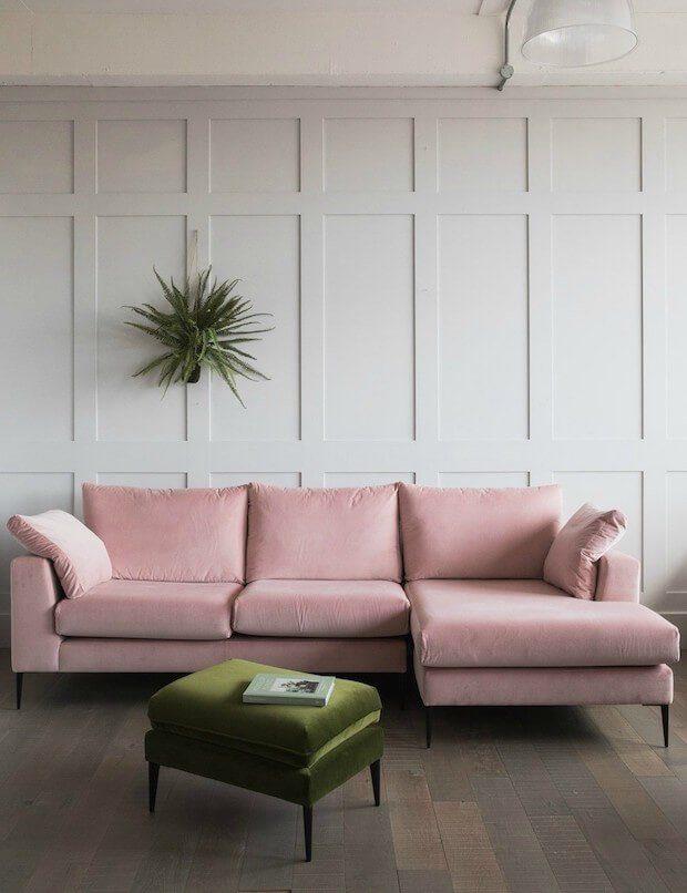 Tendencias decoración otoño 2018 sofá rosa
