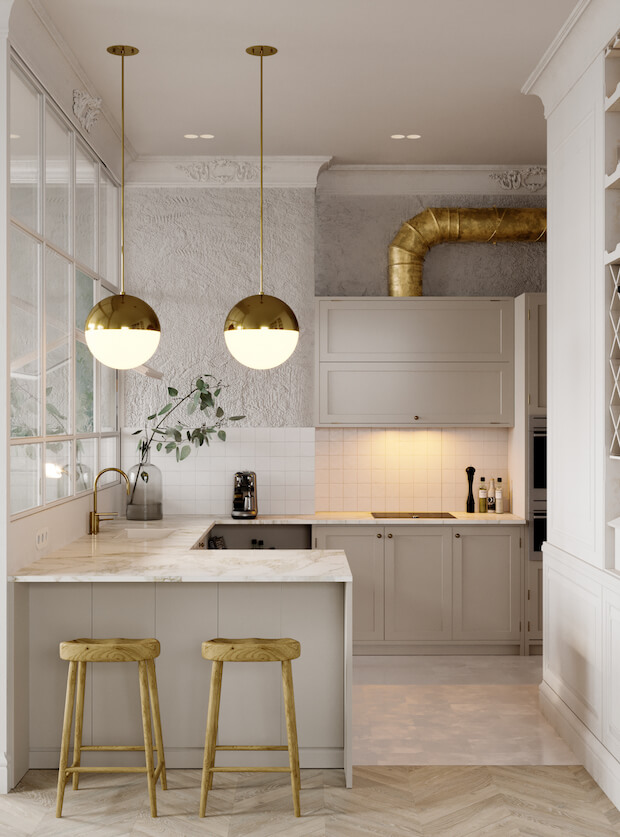 cocinas actuales dorado