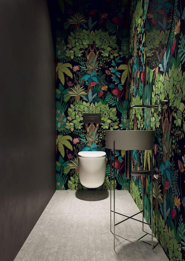 Tendencias decoración 2018 empapelado baños