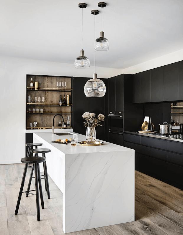 Decoración de cocinas modernas en blanco y negro
