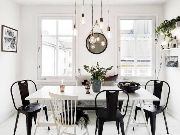 Cómo decorar un comedor blanco y negro