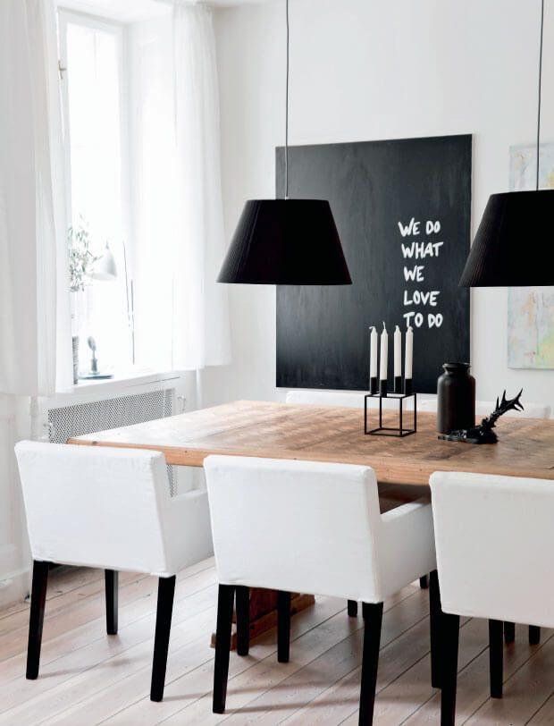 Cómo decorar un comedor en blanco y negro