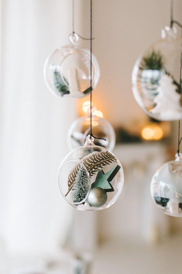 Tendencias decoración Navidad bolas transparentes