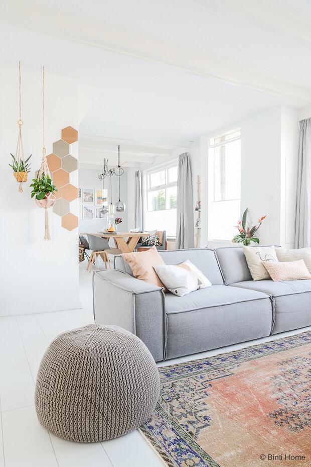 Deco salón sofá gris