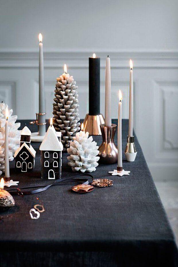 Decoración de mesas de Navidad en blanco y negro