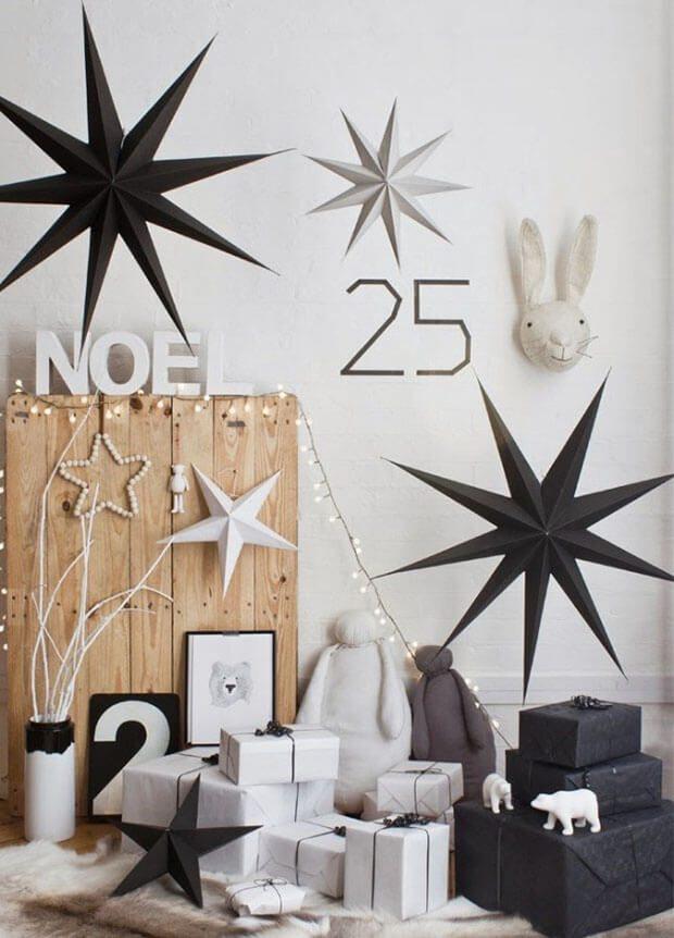 Estrellas de papel origami Navidad blanco y negro