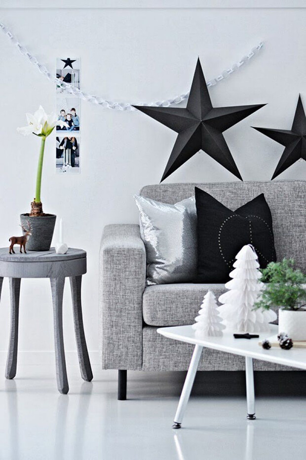 Estrellas de Navidad Blanco y Negro