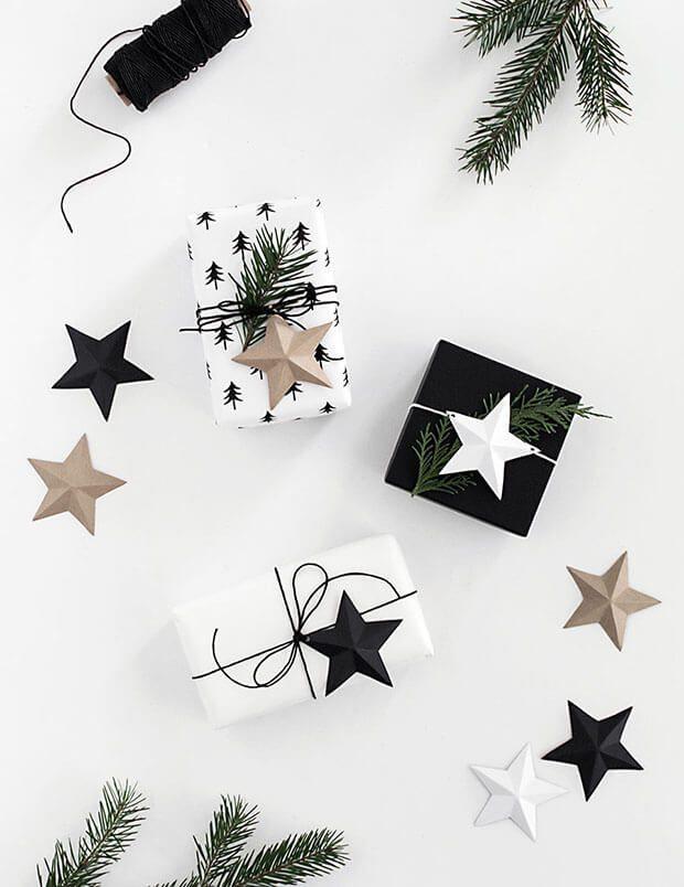 Envolotrios y tarjetas de regalos de Navidad blanco y negro