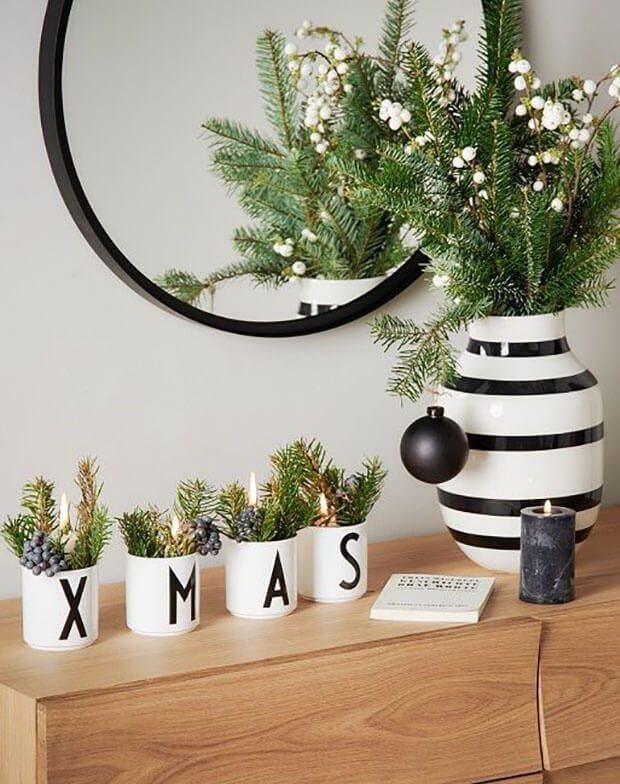 Ideas para decorar en Navidad blanco y negro