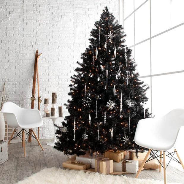 Árboles de Navidad en blanco y negro
