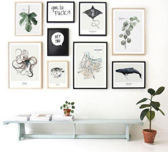 Cómo decorar con cuadros una pared blanca