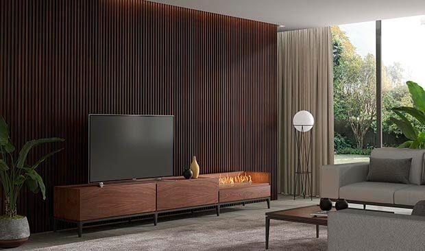 Chimeneas eléctricas con mueble de madera
